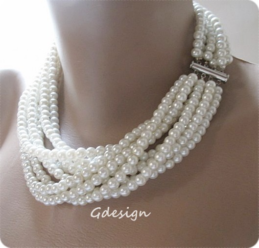 97865ffee ... Chunky Layered Pearl Necklace, Bridal Pendant, Wedding Pendant. z334 (3)