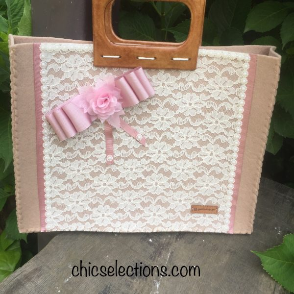 Beige felt fabric tote bag